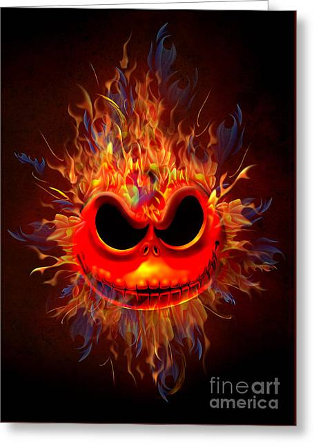 Skull Head On Fire Greeting Card