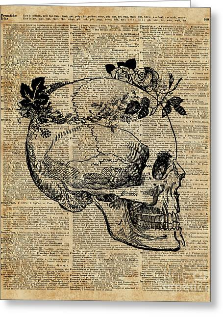 Skull In Floral Wreath Ink Drawing Dictionary Art Greeting Card