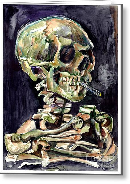 Skull Of A Skeleton With Burning Cigarette Greeting Card