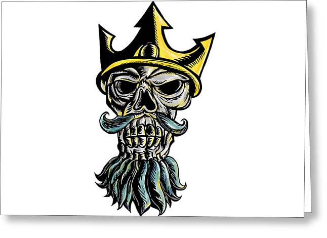 Skull Of Neptune Trident Crown Head  Woodcut Greeting Card