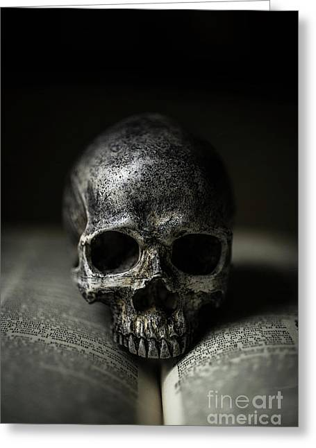 Skull On Book Greeting Card