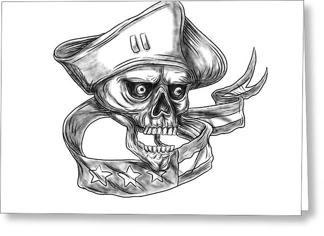 Skull Patriot Usa Flag Ribbon Tattoo Greeting Card by Aloysius Patrimonio
