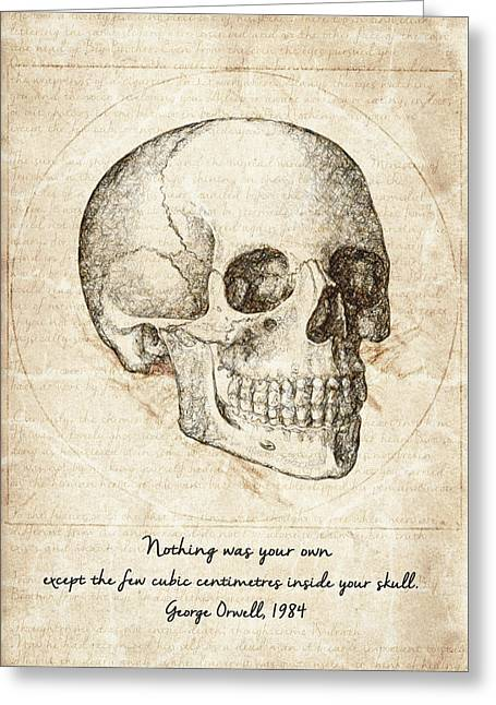 Skull Quote By George Orwell Greeting Card