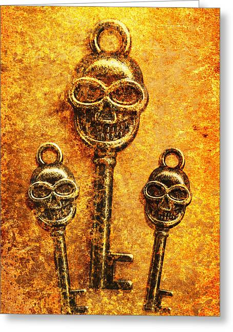 Skull Shaped Keys In Flame Greeting Card by Jorgo Photography - Wall Art Gallery