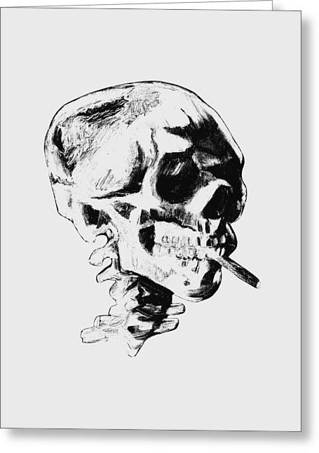 Skull Smoking A Cigarette Greeting Card by War Is Hell Store