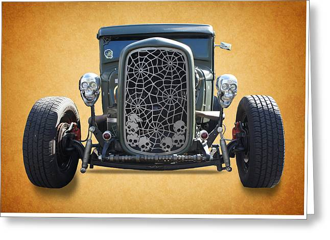 Skull Vintage Car Greeting Card by Art Spectrum