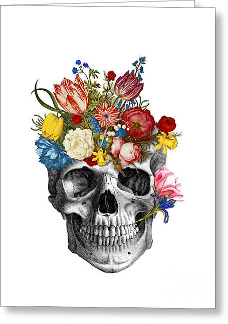 Skull With Flowers Greeting Card