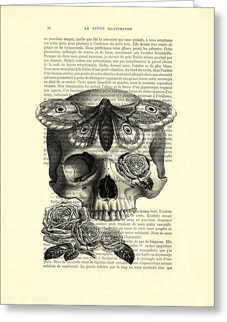 Skull With Hawkmoth Black And White Greeting Card