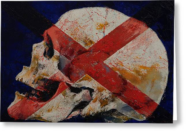 Skull With Cross Greeting Card by Michael Creese