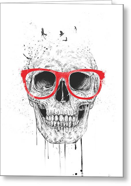 Skull With Red Glasses Greeting Card by Balazs Solti