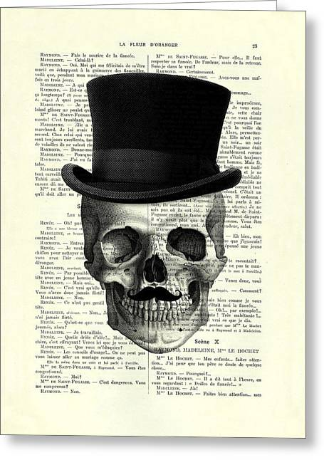 Skull With Top Hat And Moustache Greeting Card
