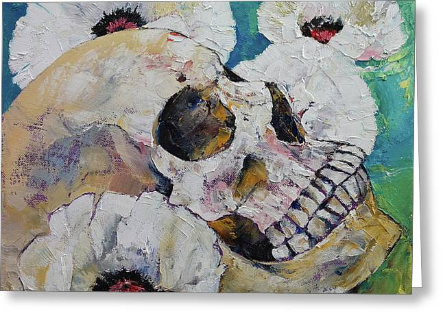 Skull With White Poppies Greeting Card by Michael Creese