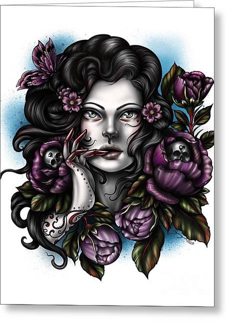 Skulls And Roses Greeting Card
