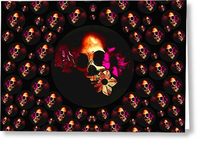 Skulls In The Dark Night Greeting Card by Pepita Selles