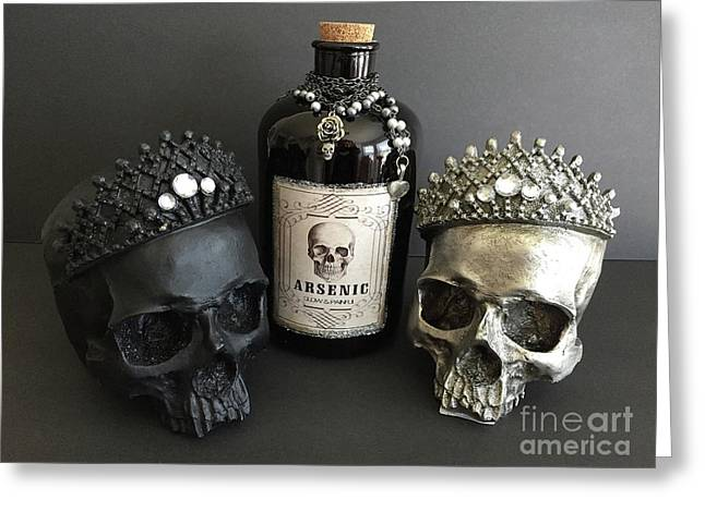 Skulls With Bottle Of Arsenic - Halloween Prints Skull Art Arsenic Bottle  Greeting Card