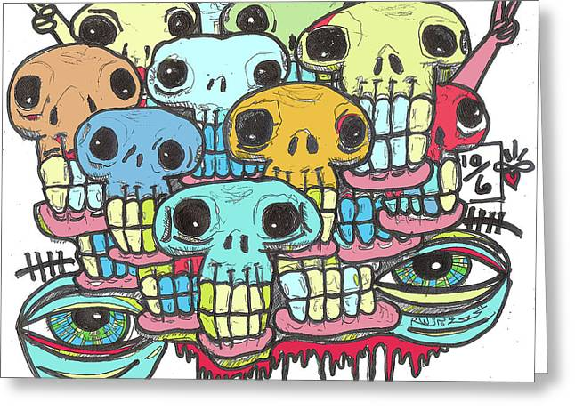 Skullz Greeting Card by Robert Wolverton Jr