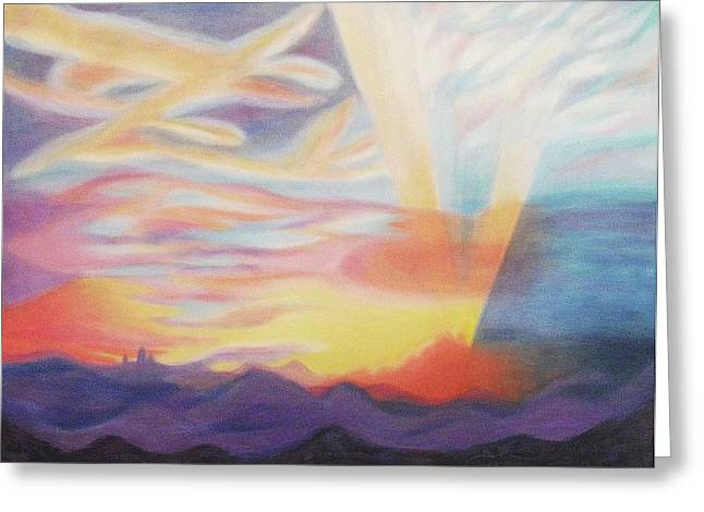 Sky Ablaze Greeting Card by Suzanne  Marie Leclair