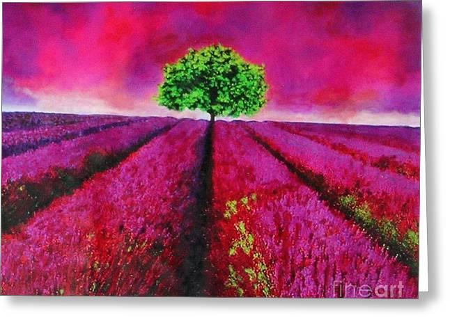 Sky And Field Aflamed Greeting Card