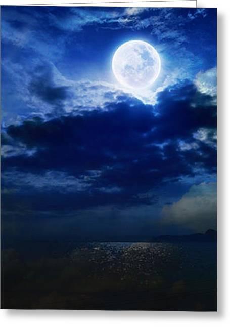 Sky Blue Full Moon Greeting Card by Becky Burt