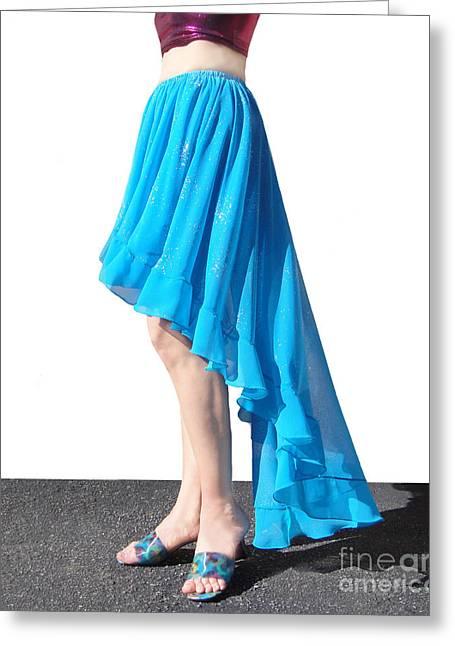 Sky-blue High Low Skirt. Ameynra Fashion Greeting Card by Sofia Metal Queen