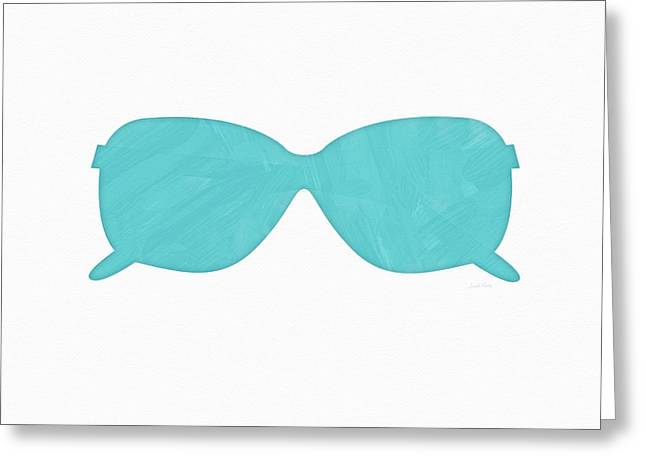 Sky Blue Sunglasses- Art By Linda Woods Greeting Card