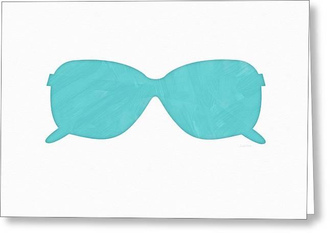Sky Blue Sunglasses- Art By Linda Woods Greeting Card by Linda Woods