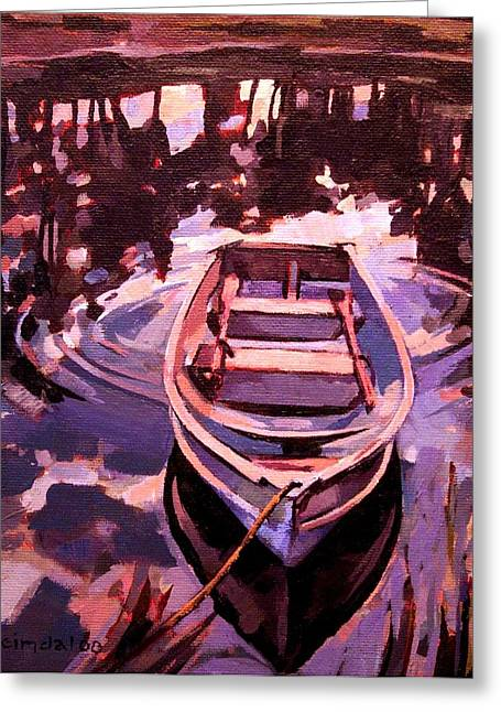 Greeting Card featuring the painting Sky Boat by Tim  Heimdal