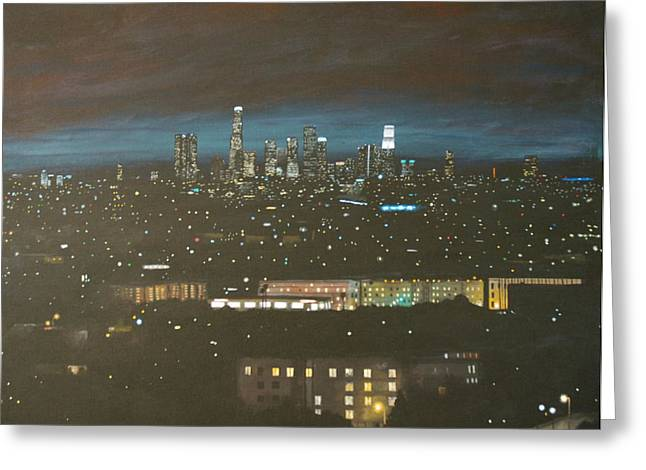 sky line LA ca Greeting Card by Keith Higgins