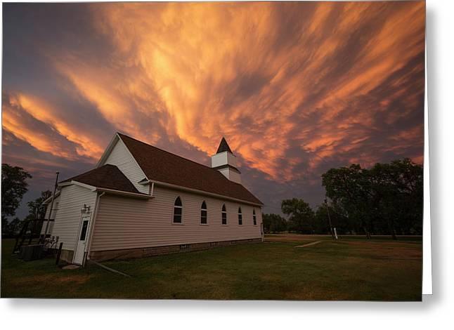 Sky Of Fire Greeting Card by Aaron J Groen