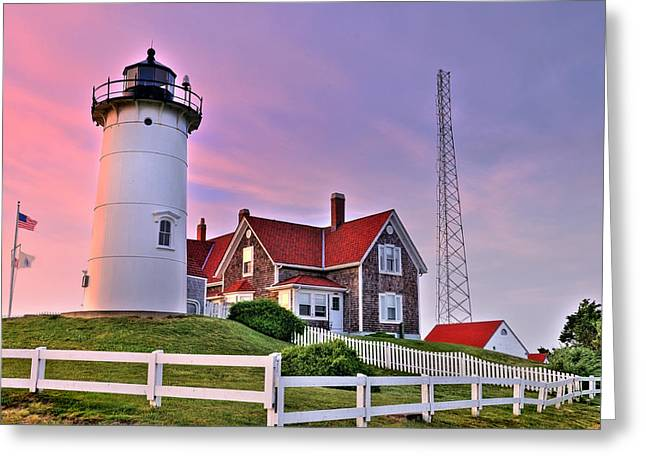 Sky Of Passion - Nobska Lighthouse Greeting Card