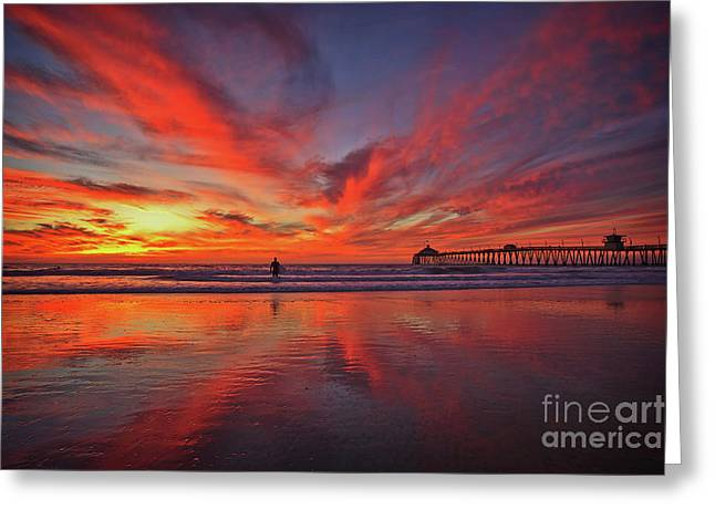 Sky On Fire At The Imperial Beach Pier Greeting Card