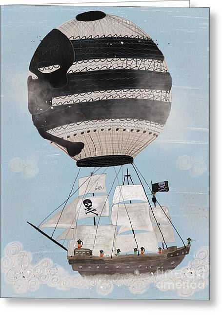 Greeting Card featuring the painting Sky Pirates by Bri B