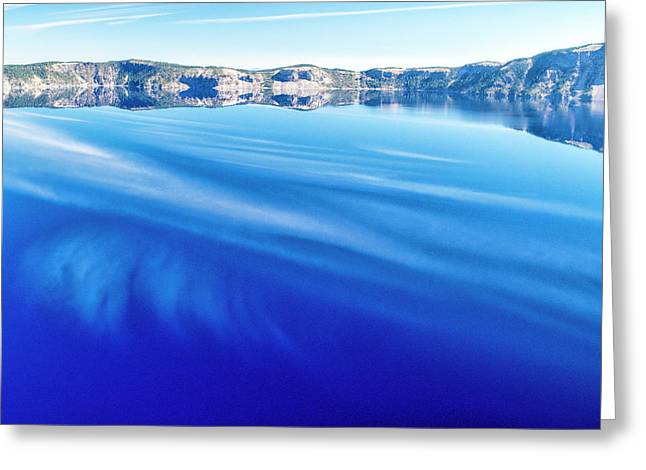 Sky Reflection In Crater Lake Greeting Card by Frank Wilson