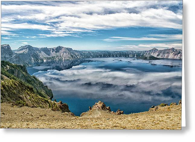 Sky Reflections In Crater Lake  Greeting Card by Frank Wilson