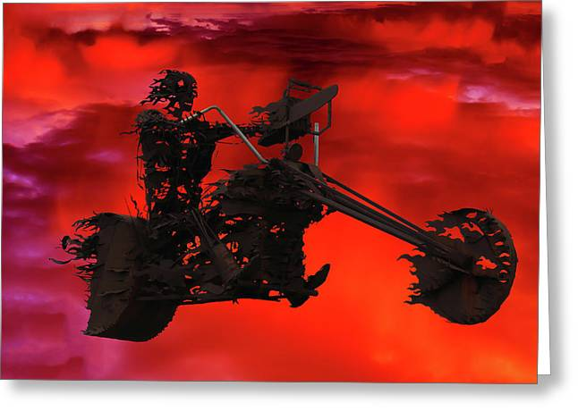 Greeting Card featuring the mixed media Sky Rider by Shane Bechler