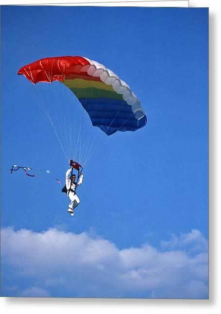 Skydiving - 1 Greeting Card by Randy Muir
