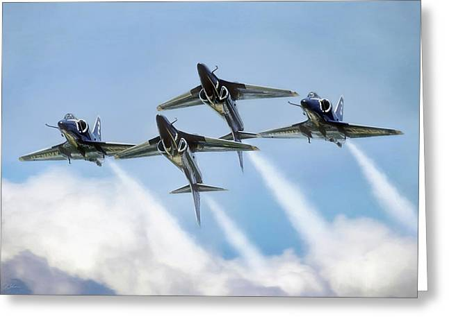 Skyhawk Double Farvel Greeting Card by Peter Chilelli
