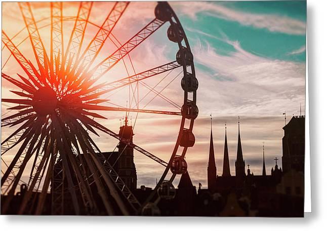Skyline And Ferris Wheel Gdansk Poland  Greeting Card