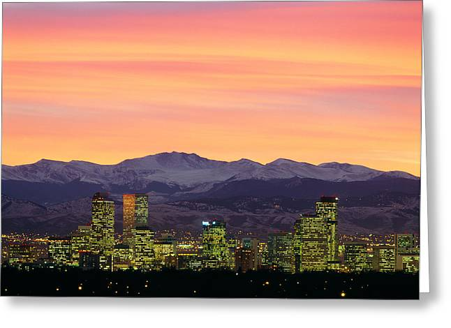 Skyline And Mountains At Dusk, Denver Greeting Card by Panoramic Images