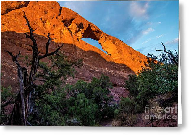 Greeting Card featuring the photograph Skyline Arch At Sunset - Arches National Park - Utah by Gary Whitton