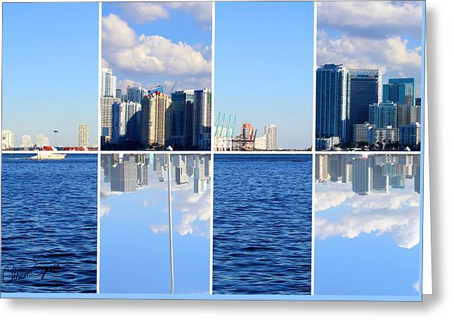 Skyline Brickell Left Greeting Card by Adrian Eguis