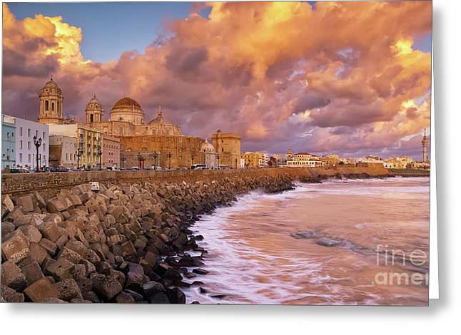 Skyline From Campo Del Sur Cadiz Spain Greeting Card