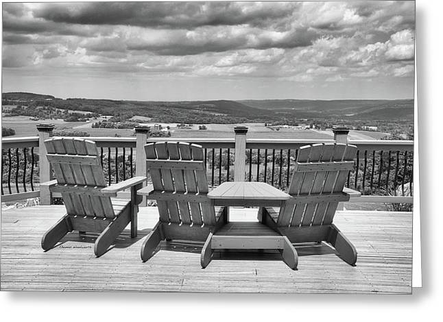 Skyline Lodge Fabius New York Patio View Bw Greeting Card by Thomas Woolworth