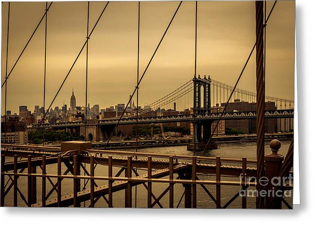 Skyline Ny From Brooklyn Bridge Greeting Card