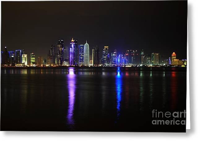 Skyline Of Doha, Qatar At Night Greeting Card