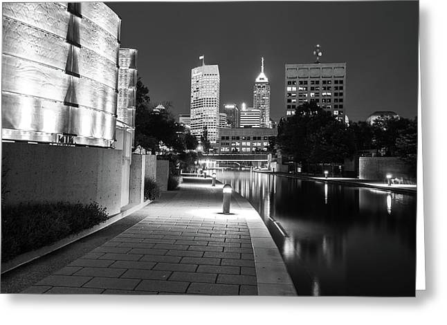 Skyline Of Indianapolis Indiana From The Canal Walk - Black And White Greeting Card by Gregory Ballos