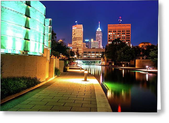 Skyline Of Indianapolis Indiana From The Canal Walk Greeting Card by Gregory Ballos