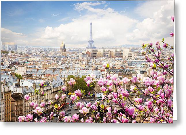 skyline of Paris with eiffel tower Greeting Card