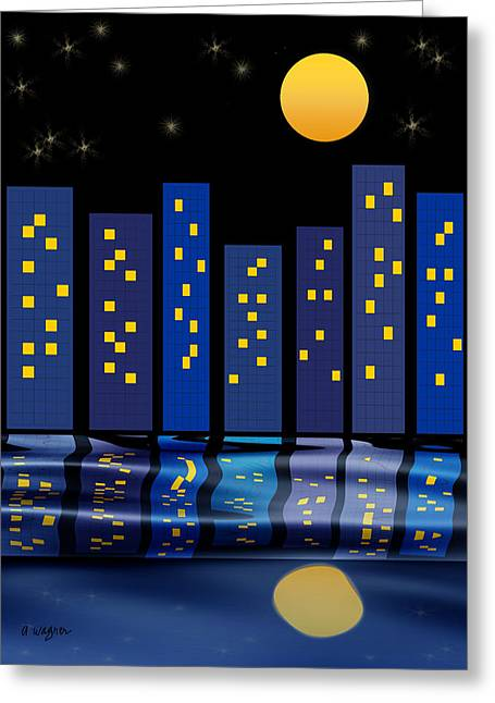 Skyline Reflections Greeting Card by Arline Wagner