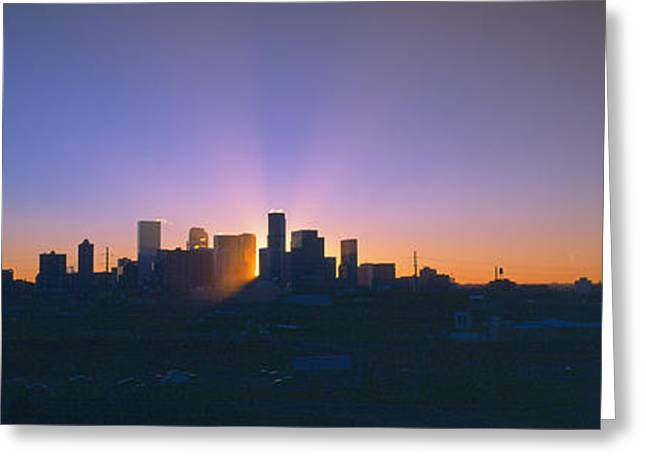 Skyline, Sunrise, Denver, Co Greeting Card by Panoramic Images